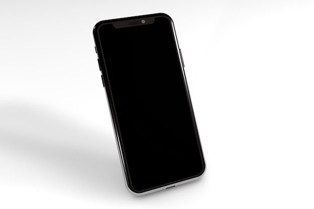 Smartphone mockup with black screen in a minimalist 3d set for graphic designers