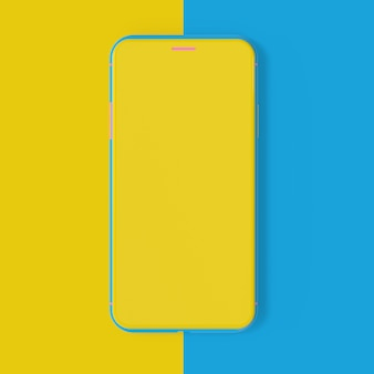 Smartphone mockup yellow and blue color