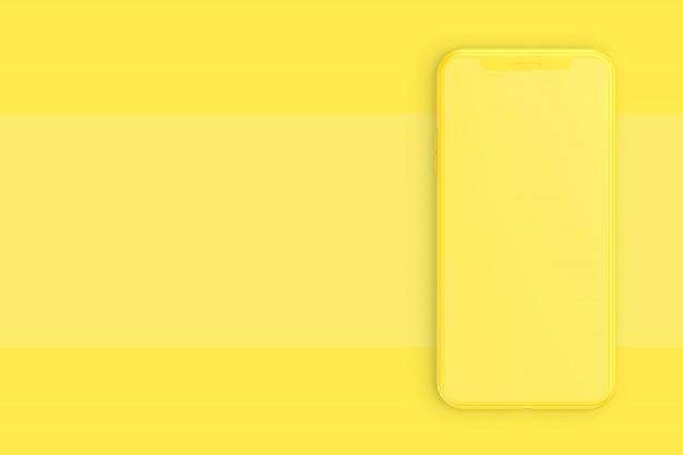 Smartphone mockup yellow color minimal idea concept.
