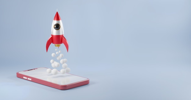 Smartphone model mock up red with rocket spaceship launching 3d rendering illustration