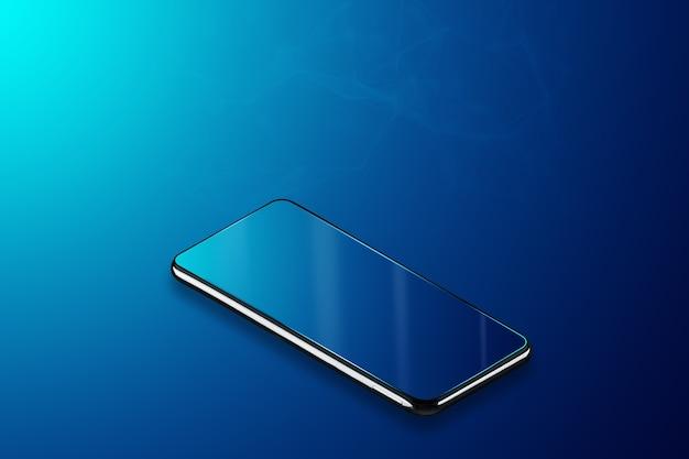 파란색 배경, 아이 소메 트리에 스마트 폰입니다. 새로운 기술.