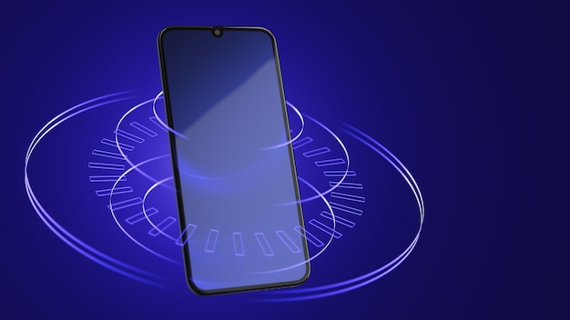 라인 추상 파란색 배경에 스마트폰입니다. 디지털 세계 개념입니다. 3d 렌더링.