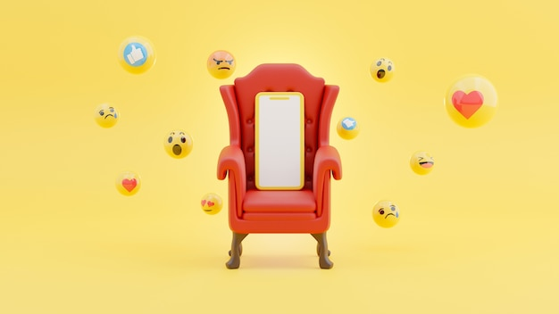 Смартфон на красном стуле в окружении социальной концепции смайликов в 3d-рендеринге