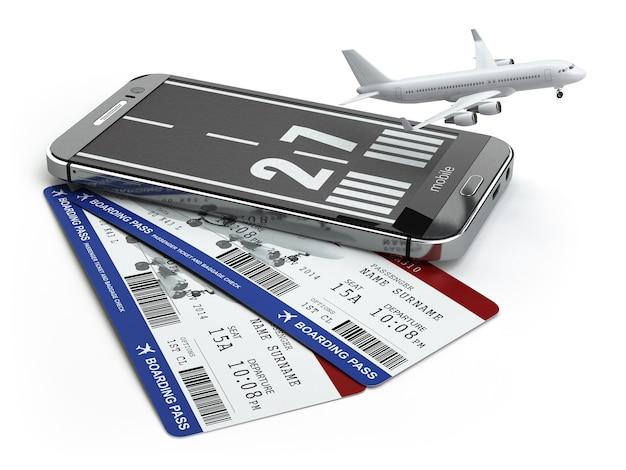滑走路飛行機と搭乗券のチケットが付いているスマートフォンまたは携帯電話