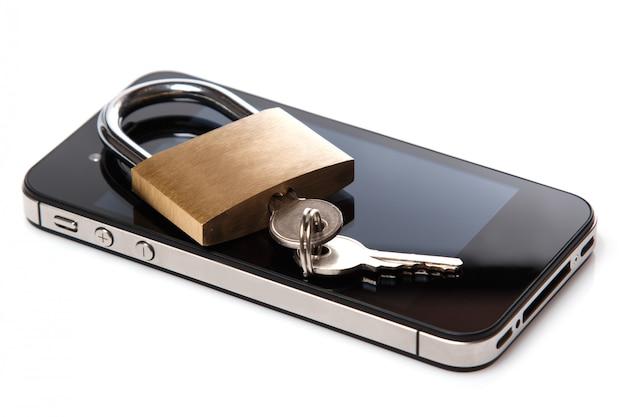 Smartphone and padlock