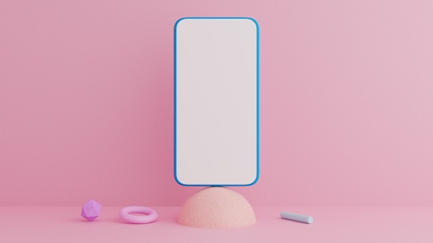 Smartphone on pink and geometric shapes.
