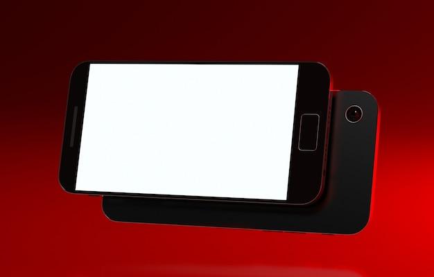 スマートフォン画面モックアップ携帯電話3dレンダリングuiおよびux製品テンプレート技術ガジェットデバイス