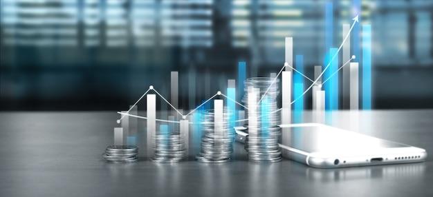 성장하는 동전 더미 옆의 스마트 폰 화면과 그의 비즈니스에서 긍정적 인 지표 차트