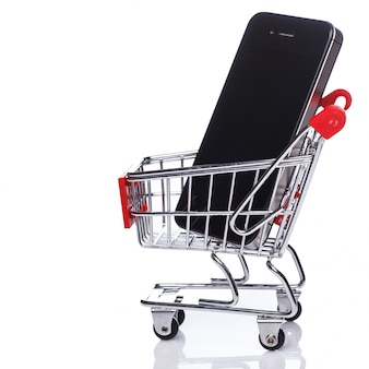 Smartphone in shopping trolley
