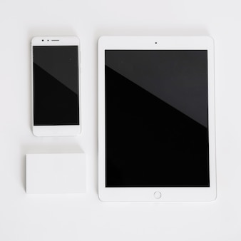 Smartphone, tablet and business card mockup
