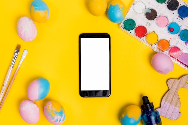 Smartphone template with easter decoration