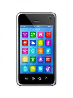 Smartphone touchscreen hd, apps icons interface