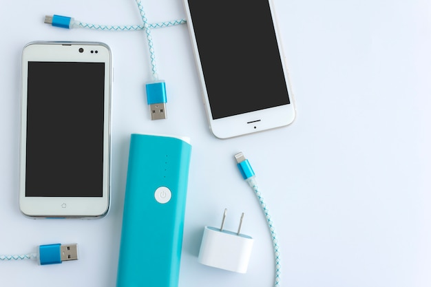 Smartphone and usb cable charger with copy space