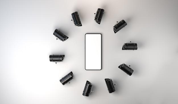 스마트폰 비디오 감시 개념 보안 카메라로 둘러싸인 휴대폰 복사 공간