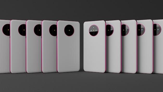 スマートフォンの白い裏表紙とピンクのフレームメタルダークバックグラウンド3dレンダリング