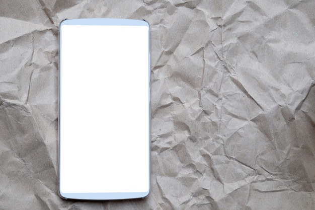Smartphone white blank screen on cracked background