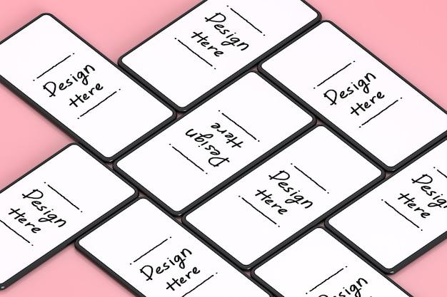 Белый экран смартфона на розовом фоне 3d-рендеринга