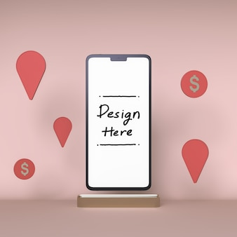 Smartphone white screen white coin and check in icon background 3d rendering