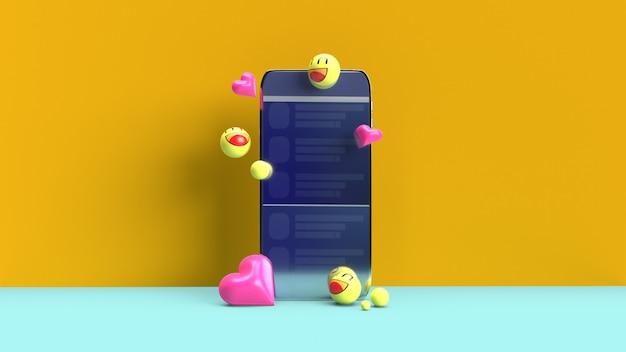 3d絵文字付きのスマートフォン