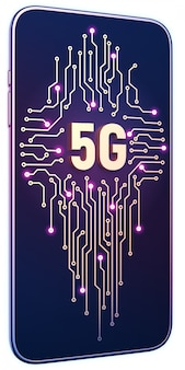Smartphone with 5g symbol and circuit board on screen. 5g internet concept in technology