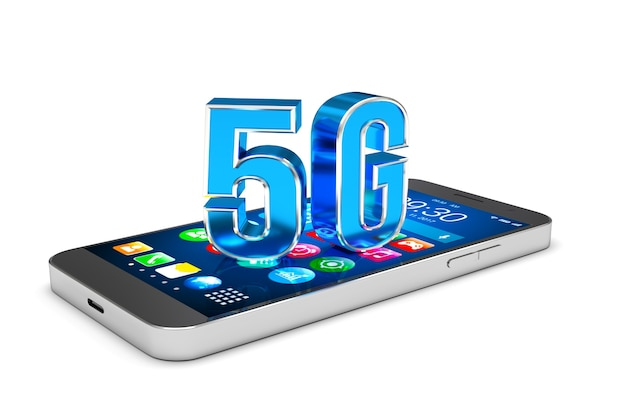 Smartphone with 5g  technology 3d render