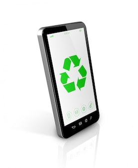 画面上のリサイクルシンボルを持つスマートフォン。環境保全のコンセプト