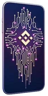 画面上のbinanceシンボルと回路基板を持つスマートフォン。モバイルマイニングと取引の概念。