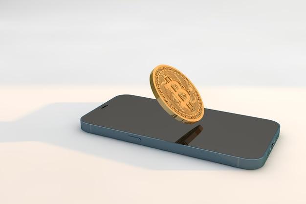 Смартфон с криптовалютой биткойн. концепция бизнес-технологий