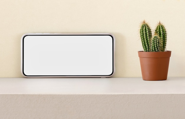 Смартфон с пустым экраном и кактусом на полке