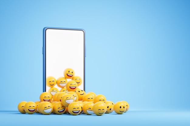 空白の画面とコピースペースのある青い背景の上に黄色の笑顔の絵文字のヒープを持つスマートフォン。 3dレンダリングイラスト