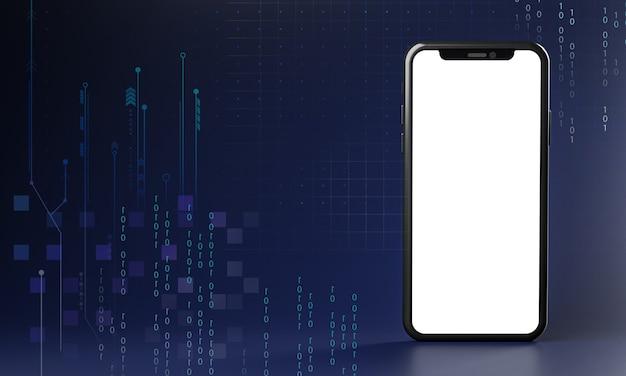 画面が空白のスマートフォン。テクノロジーコンセプト3dレンダリング