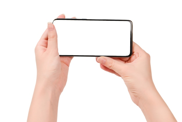Smartphone with blank screen in woman hands isolated