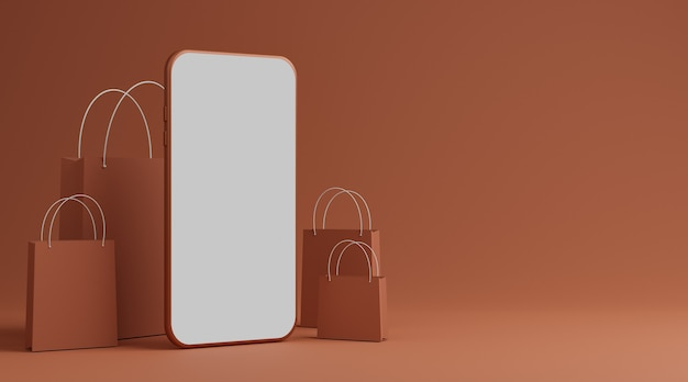 Смартфон с макетом пустого белого экрана и бумажной сумкой для покупок