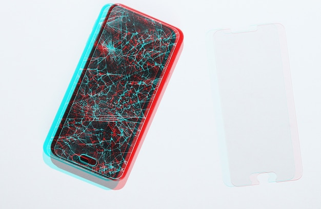 Smartphone with broken and new protective glass on white background. glitch effect