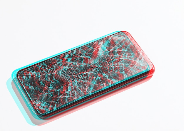 Smartphone with broken protective glass on white background. glitch effect