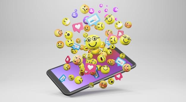 ソーシャルメディア用の漫画の絵文字アイコンが付いたスマートフォン。 3dレンダリング