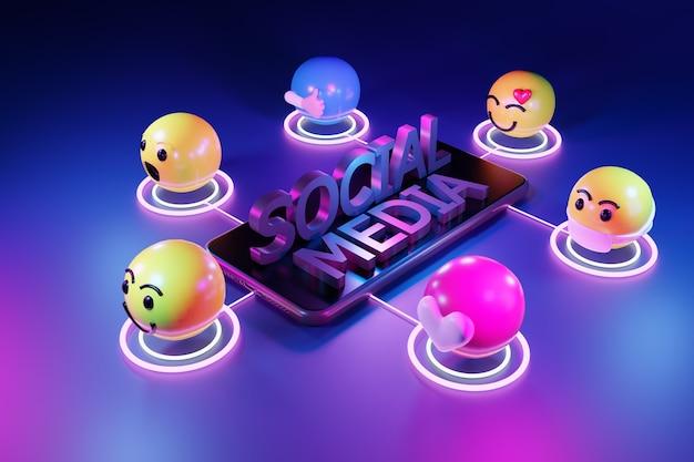 소셜 미디어에 대한 만화 이모티콘 아이콘이있는 스마트 폰. 3d 렌더링