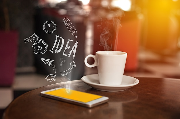 Smartphone with coffee and communication flat icons. technology digital community concept