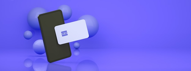 Smartphone with credit card over blue  background, concept online payment panoramic layout, 3d render