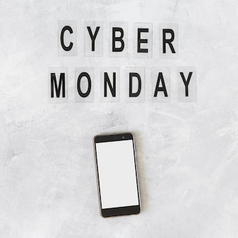 Smartphone with cyber monday inscription