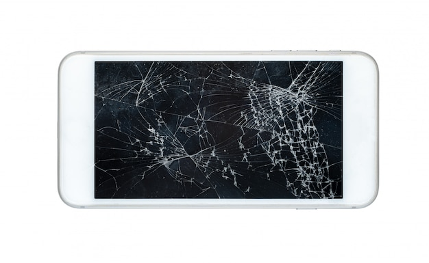 Smartphone with a damaged screen isolated on white background