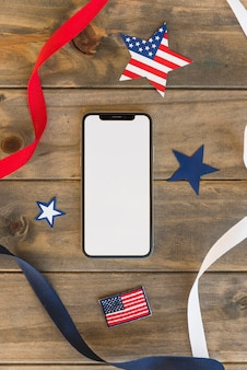 Smartphone with decorations for independence day