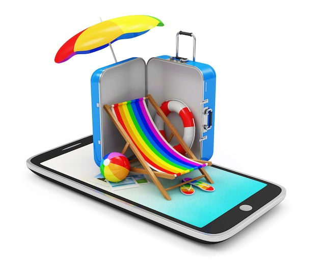 Smartphone with different accessories for vacation