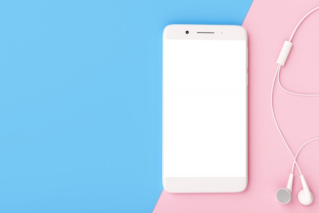 Smartphone with earphone on pastel colors background.
