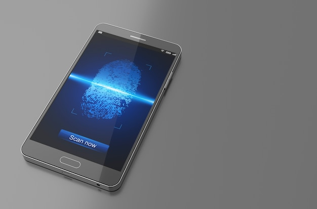 Smartphone with finger scan.