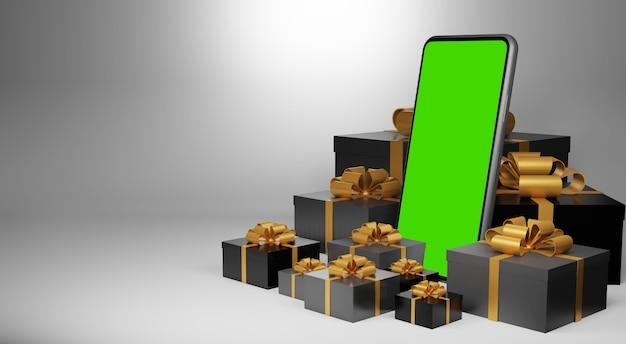 緑色の画面のスマートフォン。クリスマスプレゼントのコンセプト、3dレンダリングのモックアップ