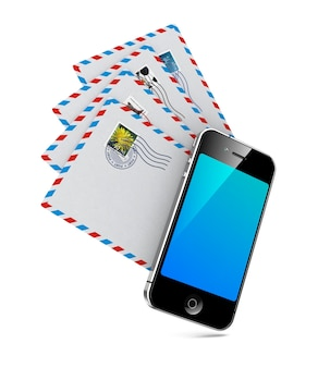 Smartphone with group of mails. send an email by phone.