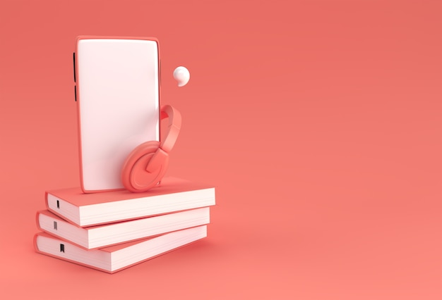 Smartphone with headphone for audio book listen literature, e-books in audio format. distance education e-learning, podcast, webinar, tutorial. 3d rendering.