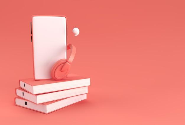 오디오 북용 헤드폰이 있는 스마트폰 문학, 오디오 형식의 전자 책을 듣습니다. 원격 교육 e-러닝, 팟캐스트, 웨비나, 튜토리얼. 3d 렌더링.