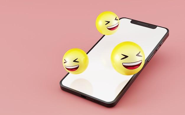 笑い顔の絵文字アイコン3dレンダリングを備えたスマートフォン